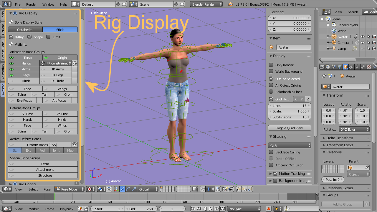 Rig Display | Avastar 2